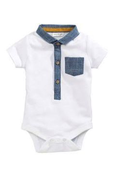 Buy Two Pack Navy/White Polo Bodysuits from the Next UK online shop Newborn Boy Clothes, Cute Baby Clothes, Baby Boy Dress, Baby Boy Outfits, Baby Boy Fashion, Kids Fashion, Cute Outfits For Kids, Baby Disney, Baby Sewing