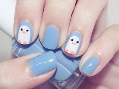 pinguin easy nail designs for kids Easy Nail Designs for Short Nail