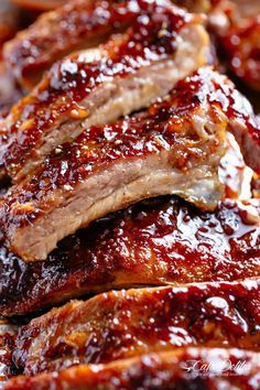 Sticky Oven Barbecue Ribs Oven Barbecue Ribs slathered in the most delicious sticky barbecue sauce with a kick of garlic and optional heat! Juicy melt-in-your-mouth oven baked Barbecue Ribs are fall-off-the-bone delicious! Sticky Pork Ribs, Oven Baked Ribs, Barbecue Pork Ribs, Oven Ribs, Barbecue Sauce, Oven Roasted Ribs, Pork Rib Marinade, Pork Rib Recipes, Oven Recipes