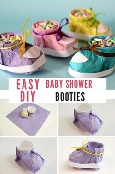 Baby Shower Booties - Planning baby shower - easy-diy-baby-shower-booties-for-baby-shower-decoration-favors-and-prizesBaby Shower Booties for baby shower favors and decoration Distintivos Baby Shower, Baby Shower Prizes, Simple Baby Shower, Baby Shower Themes, Baby Boy Shower, Shower Ideas, Shower Games, Ideas For Baby Shower, Diy Baby Shower Favors