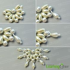 Wanna make pearl bead necklace? In this Pandahall original DIY project, you can learn how to make an elegant white pearl bead flower necklace. Bead Embroidery Tutorial, Bead Embroidery Patterns, Bead Embroidery Jewelry, Beaded Bracelet Patterns, Seed Bead Jewelry, Bead Jewellery, Flower Necklace, Beaded Necklace, Diamond Necklaces