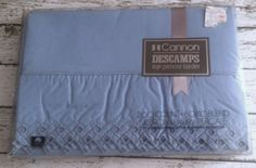 Vintage Cannon Full Flat Top Sheet Descamps Primrose Bordier Blue Eyelet Rare #Cannon #FrenchChicDescampsPrimroseBordier