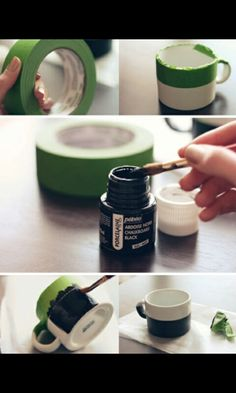 Chalkboard Mug DIY. Use Pebeo Porcelaine 150 Chalkboard Paint Diy Tableau Noir, Cute Crafts, Diy And Crafts, Homemade Gifts, Diy Gifts, Diy Projects To Try, Craft Projects, Pebeo Porcelaine 150, Do It Yourself Inspiration