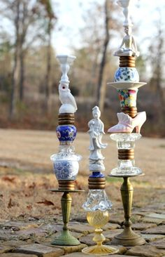 Amazing Candlesticks! D.I.Y. Knock Off from the Trinket & Treasure Candlestick from Anthropologie.