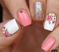43 best spring nail art designs to copy in 2019 - . - 43 Best Spring Nail Art Designs to Copy in 2019 – the - Cute Acrylic Nails, Cute Nails, Pretty Nails, Spring Nail Art, Spring Nails, Summer Nails, Spring Art, Diy Ongles, Hair And Nails