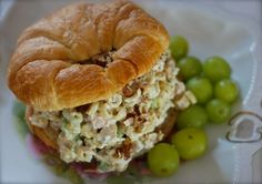 Chickadee Cottage Chicken Salad Recipe Salads with turkey breast, onion, celery, mayonnaise, cool whip, salt, white pepper, green grape, macaroni, slivered almonds