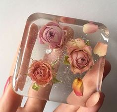 clear soap with flowers!