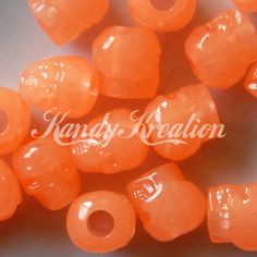 50 ORANGE Colored Glow In The Dark SKULL Pony beads for Kandi Rave Crafts Crafting Kid Day of dead Raver paracord cyberlox hair Bracelet by KandyLand on Etsy https://www.etsy.com/listing/209147237/50-orange-colored-glow-in-the-dark-skull