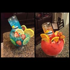I don't know if that's a tiny bottle or full sized but I'd like to try it lol - DiyForYou Candy Drinks, Liquor Drinks, Cocktail Drinks, Beverages, Bacardi Drinks, Bartender Drinks, Fish Bowl Recipe, Fishbowl Drink, Girls Night Drinks