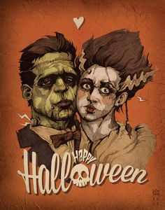 Frankenstein's monster and Bride wishing you a Happy Halloween from Cheshirecatart! Happy Holiday from The Frankensteins - by Logan Pack Happy Holiday from The Frankensteins Halloween Art, Vintage Halloween, Happy Halloween, Halloween Stuff, Beetlejuice, Horror Movie Posters, Horror Movies, Queen Anime, Bride Of Frankenstein