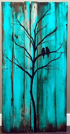 Birds in a tree wood painting - Holzwerkstatt - Wood Pallet Art, Pallet Painting, Pallet Crafts, Painting On Wood, Wood Crafts, Pallet Projects, Painting Trees, Diy Pallet, Painted Wood Pallets