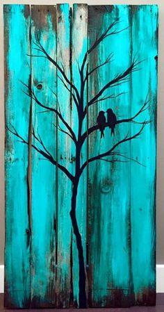 Birds in a tree wood painting - Holzwerkstatt - Arte Pallet, Wood Pallet Art, Pallet Painting, Pallet Crafts, Painting On Wood, Wood Crafts, Painting Trees, Diy Pallet, Painted Wood Pallets