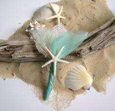 Beach Wedding Boutonniere White Aqua Groom by TwiningVines on Etsy, $13.00