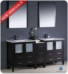 "Fresca FVN62-301230-UNS Torino 72"" Free Standing Vanity Set with Engineered Wood Espresso Fixture Vanity Double"