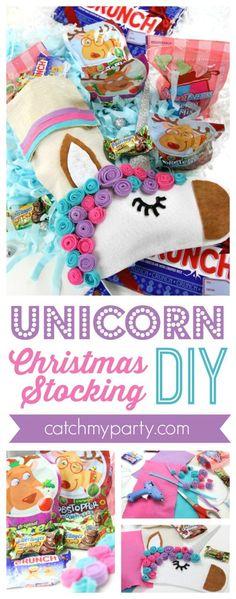 Ideas diy christmas stockings for kids xmas Christmas Popcorn, Diy Christmas Gifts, Christmas Holiday, Christmas Decor, Diy Stockings, Christmas Stockings, Unicorn Christmas, Diy Bebe, 242