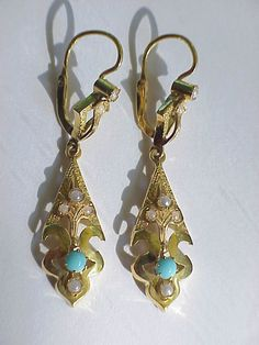 Vintage Portuguese Antique Style 19Kt Gold Turquoise Pearl Earrings Portugal