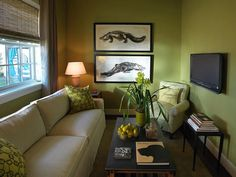 Drawn From Nature  When choosing the color palette for this sitting room, designer Linda Woodrum drew her inspiration from its coastal Florida surroundings. She chose a soothing green hue for the walls, along with lime-green accents and alligator prints, to seamlessly tie the entire look together.