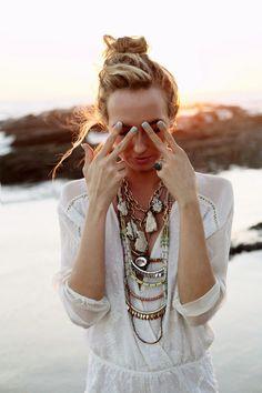 Necklace stacks + minty nails = YAS
