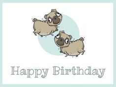 A cute framed pug template perfect to send congrats to your friends. A white background with two dog illustrations and light blue accents.