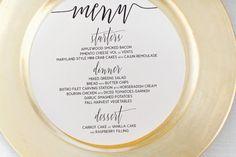 Round Wedding Menus Circle Calligraphy Shower by harperandzoe