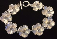Hallmark Bracelet Silver Metal 8 Flowers with Crystal Cluster Centers 8.5 Inch #Hallmark #Chain