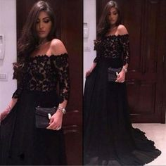 Xp337 black chiffon prom dress,top lace off should straight neck long sleeves party occasion prom dresses