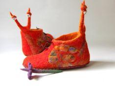 Orange wool slippers owl slippers for girls toddlers от AMdreAM