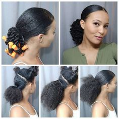 Here's a quick slick ponytail I did. I always do my ponytail in multiple sections to get a really sleek look since my hair is super thick. Pelo Natural, Natural Hair Tips, Natural Hair Journey, Natural Hair Work Styles, Natural Hair Styles For Black Women, Hair Dos, My Hair, Slick Ponytail, Curly Ponytail Weave