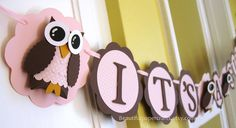 It's A Girl Owl Banner  Owl Baby Shower Banner Owl Baby