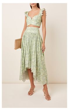 Santana Printed Linen Midi Skirt By Amur   Moda Operandi #crop #top #and #skirt #outfit #croptopandskirtoutfit AMUR's 'Santana' dress is the epitome of summertime. Effortless and languid, it's designed into a relaxed, pleated silhouette and printed with faded blooms allover. Showcase the high waistline and a-line shape with a linen cropped blouse. Zip fastening along back Composition: 100% linen Dry clean Imported Crop Top Outfits, Skirt Outfits, Dress Skirt, Crop Top Dress, Modest Outfits, Summer Outfits, Casual Dresses For Women, Cute Dresses, Clothes For Women