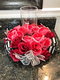 Centerpiece, Rose Centerpiece, Floral Centerpiece, Candle ring, Valentines Day Rose Centerpiece, Valentine's Day Gift, Roses, Memorial Gift, Condolences Gift, Home Decor