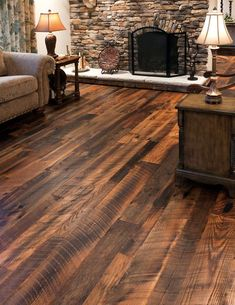 Reclaimed Wide Plank Hit Skip Oak Hardwood Flooring by Olde Wood Limited. Reclaimed Hardwood Flooring, Rustic Wood Floors, Wide Plank Flooring, Penny Flooring, Dark Flooring, Natural Flooring, Solid Wood Flooring, Linoleum Flooring, Terrazzo Flooring