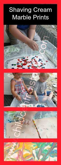 Shaving Cream Marble Prints | Child Central Station, #art, #kids, #ece