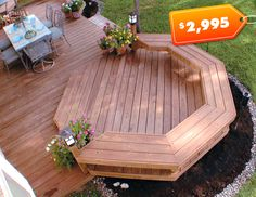 deck ideas - easier than a curve, and I like the planters and benches