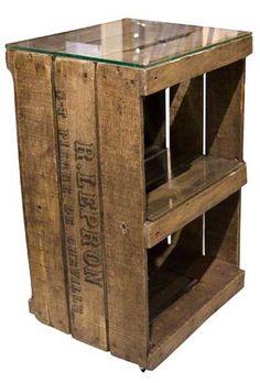 Wood crate handmade table great idea so my husband can - Cajas de madera recicladas ...