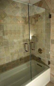 Tiled shower with 9X12 and a 4X12 deco glass tile with a ...