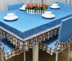 With well-chosen color fabrics sewn tablecloths and chairs, the kitchen or dining room atmosphere is completely . Dining Table Cloth, Dining Table Design, Dinning Table, Dining Room, Diy Home Crafts, Diy Home Decor, Purple Bedroom Decor, Leather Chair With Ottoman, Shabby Chic Table And Chairs