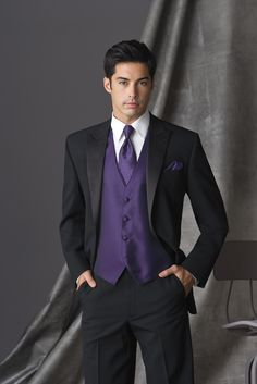 Regency Purple Tuxedo Vest & tie with black suit- David's Bridal has it where you can color coordinate with the bridesmaid's dresses in Regency Purple. Needs to have ivory Or soft white colored shirt.