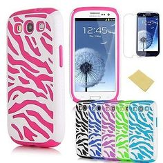 Hot Pink Zebra Combo Hybrid Silicon Case Cover for Samsung Galaxy S3 i9300 / S4 i9500