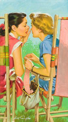 Lawnchair Gossip, art by Arthur Sarnoff | Roger Wilkerson on tumblr