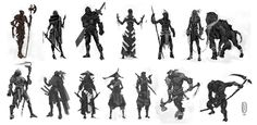 silhouette studies by Parkhurst on DeviantArt Character Concept, Character Art, Concept Art, Game Concept, Thumbnail Sketches, Fantasy Illustration, Medieval Fantasy, Shape Design, Character Design Inspiration