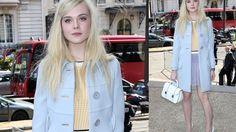 """Mit geblümten Schuhen in den Frühling! Miu Miu-Gesicht Elle Fanning machte bei der Paris Fashion Week gleich vor, wie der Frühling aussieht: Zum Pastelloutfit kombinierte die """"Maleficent""""-Darstellerin floral gemusterte Pumps."""