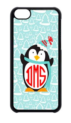 For Apple iPhone 4 4s  5 5s 6 Monogram Personalized Christmas Penguin Case  #Apple
