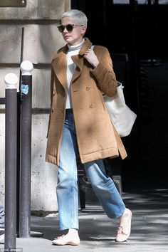 Parisian Chic! Michelle Williams, 36, was spotted looking effortlessly stylish leaving the Jacquemart Andre museum in Paris on Tuesday in a cosy tan coat