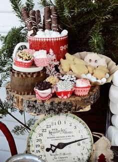 Hot Cocoa Bar Treats, Chocolate covered pretzels, dipped marshmallows, shortbread cookies idea for Christmas family movie night this year. Merry Christmas, Christmas Love, Christmas Goodies, Rustic Christmas, Christmas Treats, Christmas Holidays, Christmas Decorations, Christmas Displays, Xmas