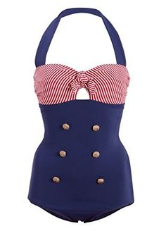 50s Retro Sailor Nautical One Piece Swimsuit Swimwear  Price : $29.90 http://www.pretty-attitude.com/Retro-Sailor-Nautical-Swimsuit-Swimwear/dp/B00TYP1FN8