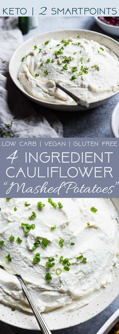 """Healthy Garlic Mashed Cauliflower Potatoes -These 4 ingredient, keto""""potatoes""""are a vegan, gluten free and low carb side dish! They're only 70 calories, 2 Smartpoints and are a great way to get kids to eat veggies! Perfect for Thanksgiving! 