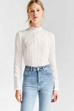 Kimchi Blue Victorian Mock Neck Blouse - Urban Outfitters
