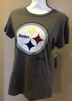 Pittsburgh Steelers Size Large T Shirt Tee Gray NFL Apparel Womens New  NFL   GraphicTee 57a29d87953