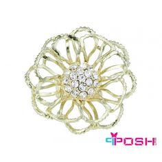 POSH Emmy - Ring - Stretch ring - Gold tone metal with a cluster of white crystals in centre - Flower Diameter: - Stretch ring will fit most sizes POSH by FERI - Passion for Fashion - Luxury fashion jewelry for the designer in you. Fashion Rings, Fashion Jewelry, Gold Rings, Women's Rings, Ladies Boutique, Passion For Fashion, Bridal Jewelry, Pendants, Crystals